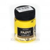 Краска акриловая полуматовая 50 мл, Жёлтая